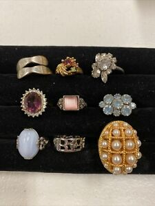 Vintage To Mod Ring LOT Rhinestones Some Designer Avon+