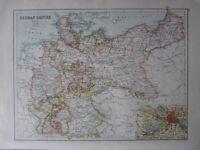 1900 Antik Landkarte ~ Deutsche Reich Sachsen Thüringen Hanover Brandenburg