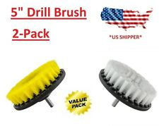(2-Pcs) 5 inch drill brush Medium & Soft scrub combo car wall tile leather clean