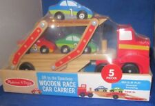 MELISSA & DOUG OFF TO THE SPEEDWAY WOODEN RACE CAR CARRIER 5 PIECES, NEW