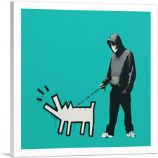 ARTCANVAS Choose Your Weapon Keith Haring Dog - Teal Canvas Art Print by Banksy