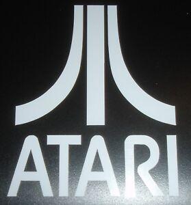 Atari contour cut vinyl sticker / decal - White - (Retro Arcade Mame RPI)