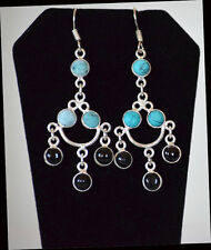 Silver Metal Turquoise onyx Chandelier Hook Earring Fashion Jewelry from India