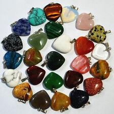 Wholesale Natural Gemstone Heart Reiki Chakra Pendant Beads Stone Jewelry DIY