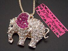 Betsey Johnson  rhinestone elephant ears pink ears pendant necklace # B