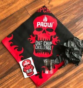 Paqui One Chip Challenge Bandana, Badge, and Shot Glass