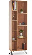 VonHaus Capri Bookcase, Oak Effect Finish Retro Style, Vintage Scandi Split