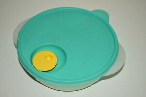 Tupperware #2640 Crystal Wave Food Container Steam Vent Lid Green