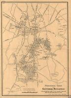 1863 Gettysburg Battlefield Civil War Map Military Poster Wall School History