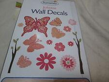 Summer Infant JULIETTE Butterflies Flower 30 Decorative Wall Decals ~ Pink, Red