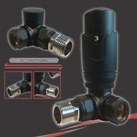 Thermostatic (TRV) Black Corner Valve Set for Radiators & Towel Rails (Pair)