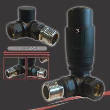 Thermostatique (TRV) noir coin valve set pour radiateurs & porte-serviettes (paire)