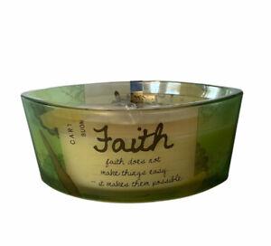 Woodwick Vanilla Bean Faith Inspirational Ellipse Candle 16 oz Rare Discontinued