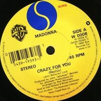 "MADONNA crazy for you 1990 7"" WS EX/ uk sire W0008"