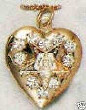 EASTERN STAR GOLDTONE HEART LOCKET W/ RHINESTONES