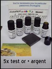 5 test  à tester or 9 -14 -18 - 24 argent flacon verre  codigoutte  + pierre