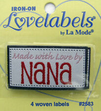 MADE WITH LOVE BY NANA Woven Labels (Qty-4) Iron-On/Sew-In