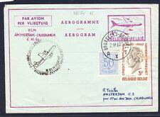 46692) KLM FF Amsterdam - Casablanca 5.11.60, GAU Aerogramm ab Belgien R!