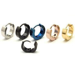 4mm width Men Women Stainless Steel Punk Pierced Round Huggie Hoop earring 2pcs