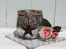 Windlicht mit Holz Stern Juteband Glas Bauernsilber Deko Shabby Vintage 14x12,5