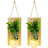 2Pack Mason Jar Sconces LED Fairy Lights Rustic Wall Hanging Decor 6 Hours Timer