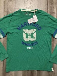 NHL CCM Vintage Long-sleeve HARTFORD WHALERS Green Hockey Shirt LARGE *NEW*