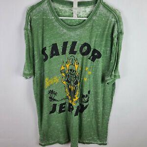 Sailor Jerry T-Shirt Motorcycle Skull Flames Graphic Print Logo Light Weight XL