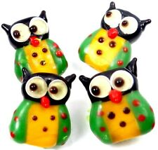 Lampwork Handmade Glass Lovely Owl Beads (4) - Yellow Green