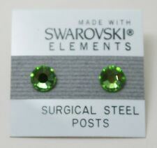 Green Circle Stud Earrings 7mm Small Light Crystal Made with SWAROVSKI ELEMENTS