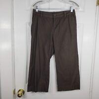 BANANA REPUBLIC Size 4 Taupe Pinstripe MARTIN FIT Capri Crop Dress Pants Womens