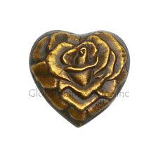 Antique Brass Rose Engraved Heart Keepsake Funeral Urn for Ashes