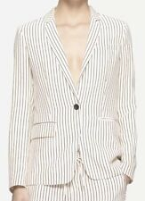 $595 RAG & BONE Belmar Black White Stripe Silk Blazer Jacket - Size 2 (S)