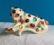 KJL Signed Topaz Rhinestone Cabochon Fantasy Collection Leopard Cat Brooch Pin