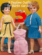VINTAGE KNITTING PATTERN FOR  THREE KNITTED OUTFITS - FOR 11 INCH DOLL