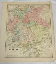 1864 Colton Antique COLOR Map//GERMANY