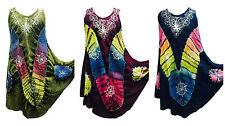 Women Ladies Plus Size top tunic kaftan Sleeveless Tie Dye Beach Summer Sundress