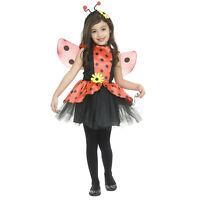 Child Girls Red Ladybug Halloween Costume Polka Dot Dress Wings Headband M L