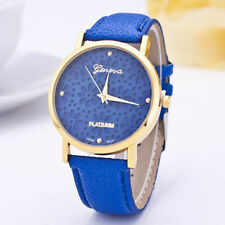 Ladies Gold Geneva Quartz Platinum Range Snow Flake Blue Faced Wrist Watch.