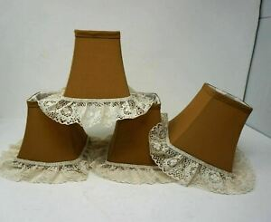 """Set Of 4 Brown lace Victorian style clip on Chandelier square Lamp Shades 6"""""""