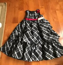 NWT Girls 5T Black White Gray Silver Red Plaid Dress Holiday Christmas Party