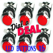 Super Bright ILLUMINATED  Arcade Led Buttons red x 6 mame arcade 28mm