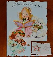 Vintage UNUSED Christmas Card ANGELS with CROSSWORD PUZZLE INSIDE LAMB SHEEP
