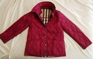 Burberry children's Diamond Quilted Girls Jacket 8Y Red kids Coat Jackets
