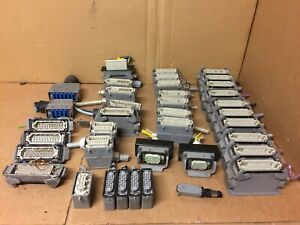 Lot of 38 Harting Han Enclosures w/ Connectors HS12 10E-F 16H-F 16A-M 24E-M etc