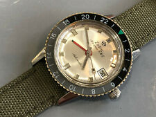 Vintage Zodiac Aerospace Gmt men's wristwatch military 24hr bezl cal 75B 1960's