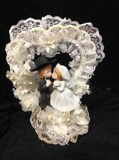 Vintage Cake Topper Bride and Groom kissing 1950's fancy heart outline ceramic