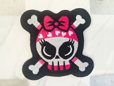 Monster High Pink Bow Skull Girl Crossbones Embroidered Iron On Patches Patch