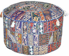 Round Ottoman Pouf in Blue bohemian stool chair pouffe decorative Cushion pillow