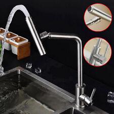 Stainless Steel Kitchen Mixer Tap Brushed Nickel Faucet Single Handle UK