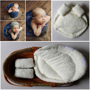 Travel Size Newborn Photo Posing Mat Pillows Baby Costume Props Soft Outfit 3pcs